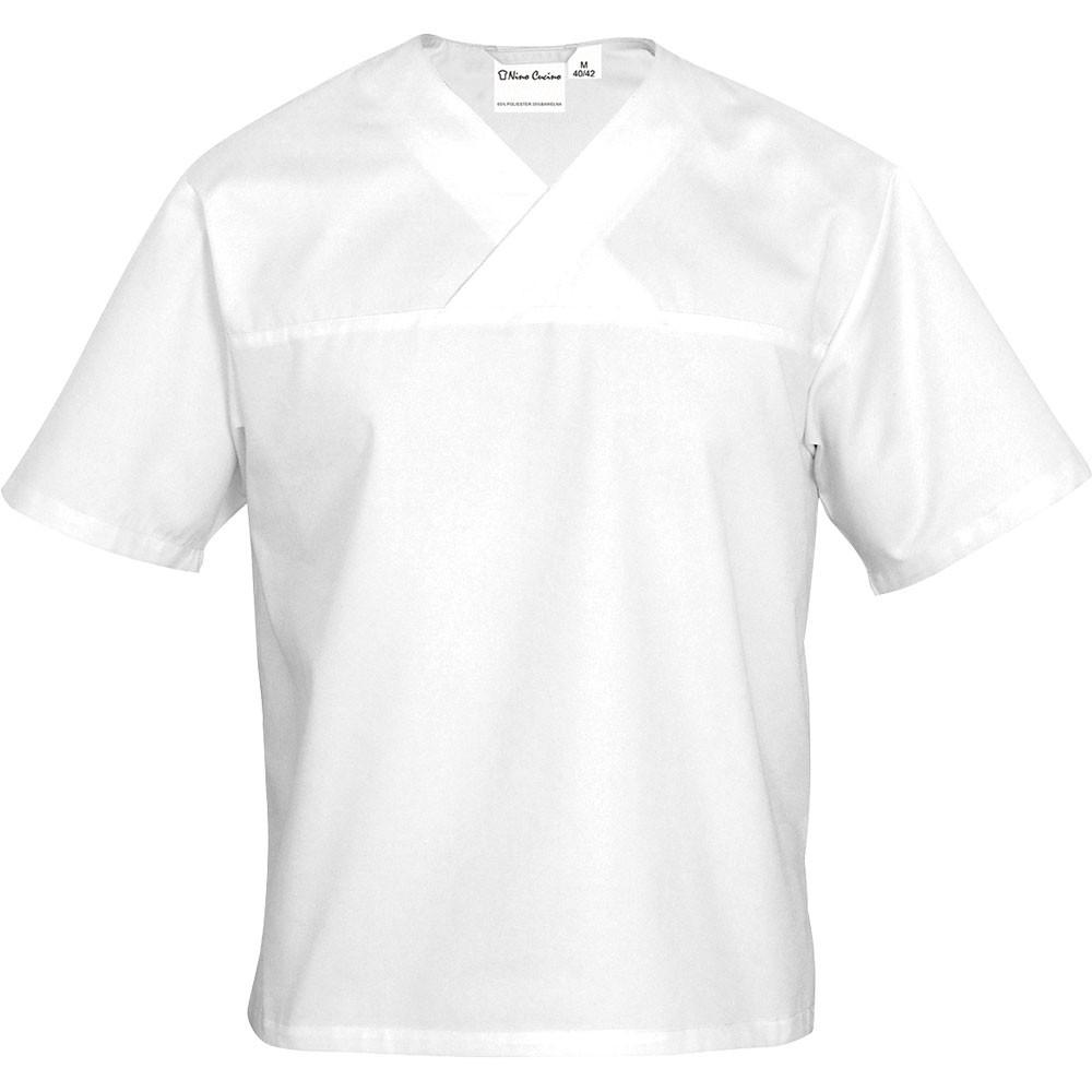 Nino Cucino Bluza kucharska w serek biała krótki rękaw M unisex
