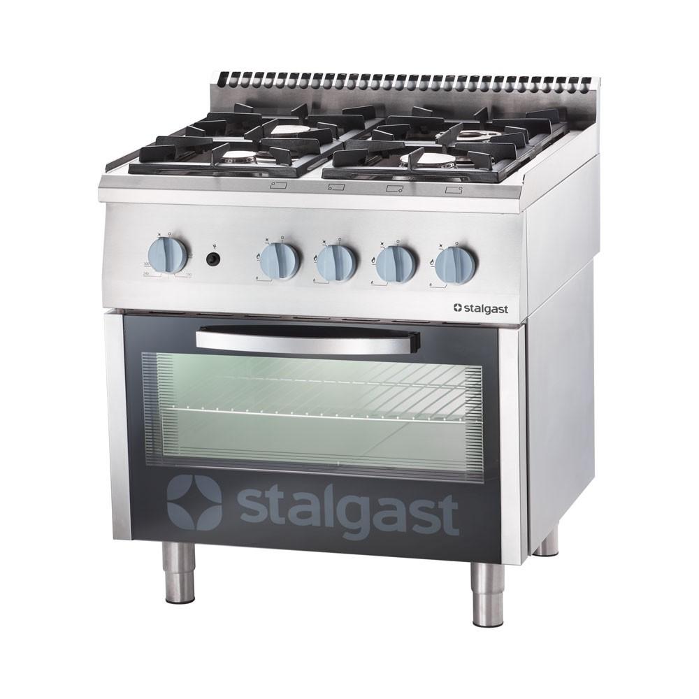 Stalgast Kuchnia gazowa 4 palnikowa 22,5 kW z piekarnikiem gazowym 6 kW - propan-butan