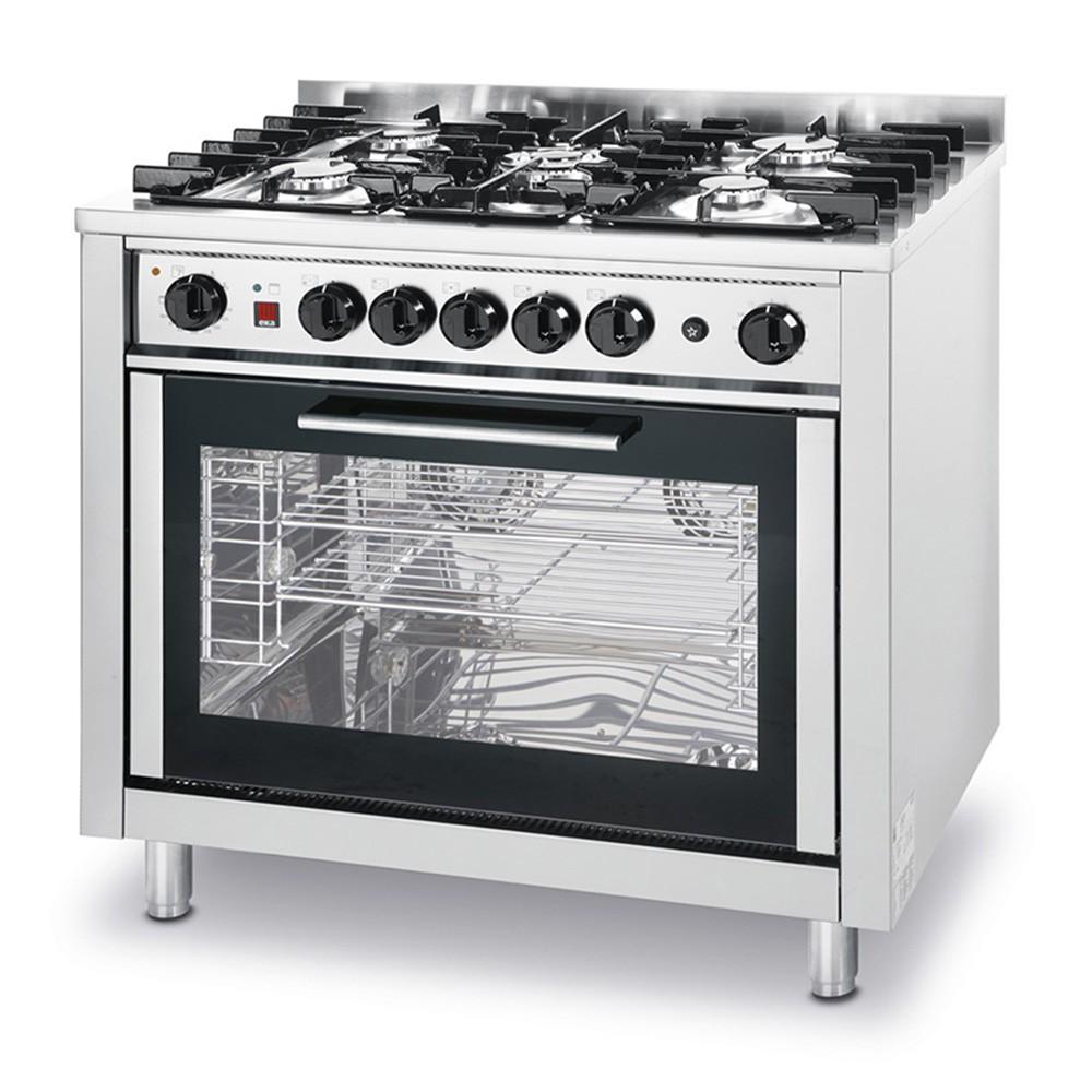 Hendi Kuchnia Gazowa 5 Palnikowa Kitchen Line Z Konwekcyjnym Piekarnikiem Elektrycznym I Grillem