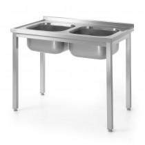 Hendi Stół z dwoma zlewami - skręcany 1000x600 mm