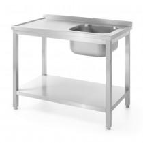 Hendi Stół z jednym zlewem z półką - prawy - skręcany 800x600 mm